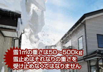 雪の重さは1㎡50~500kg