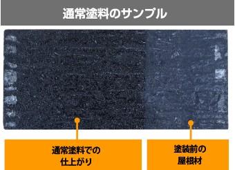 通常塗料の塗布前後の比較サンプル