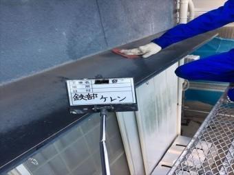 加古川市の鉄部のケレン作業