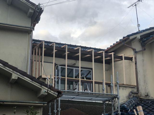 加古川市野口町のベランダ下地の施工