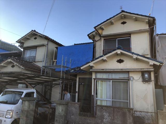 加古川市野口町の下地作業後の養生完了後の写真