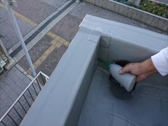 明石市の塩ビ防水シートのシーリング