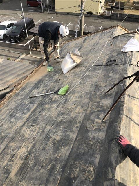 加古川市の瓦撤去後の既存の防水紙