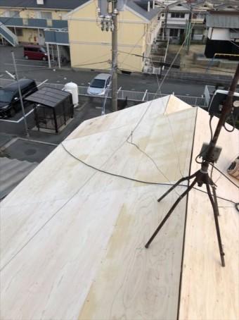 加古川市の葺き替え工事の野地板