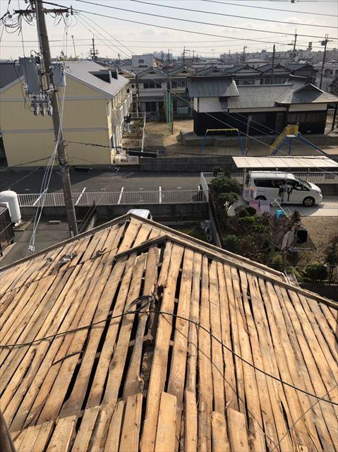 加古川市の瓦撤去後の既存の屋根下地