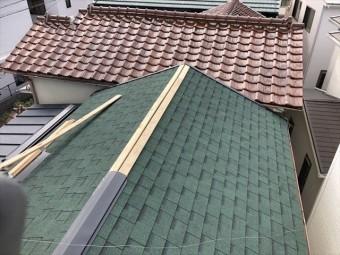 加古川市でアルマ葺き替えの棟板金施工