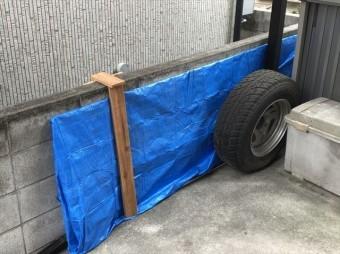 加古川市で足場施工の為に取り外したカーポートの屋根