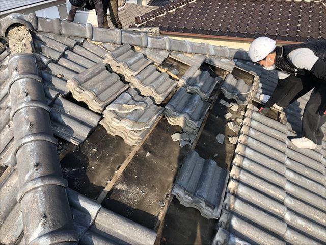 高砂市のモニエル瓦の撤去作業