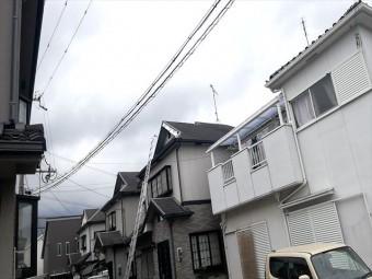 加古川市の飛散した破風の応急処置の防水シート