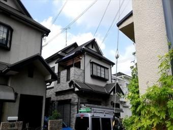 加古川市の飛散した破風の応急処置