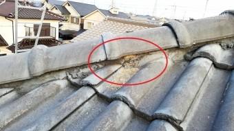 高砂市のモニエル瓦屋根の棟の写真