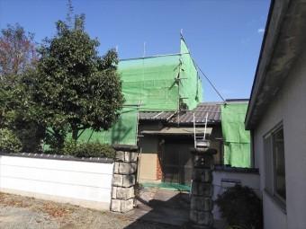 姫路市外壁塗装の足場施工後の外観