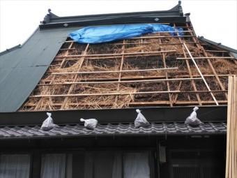神河町の茅葺き屋根の被害状況