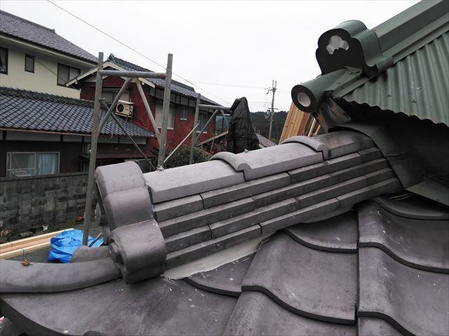 神崎郡神河町の隅棟の復旧後の写真