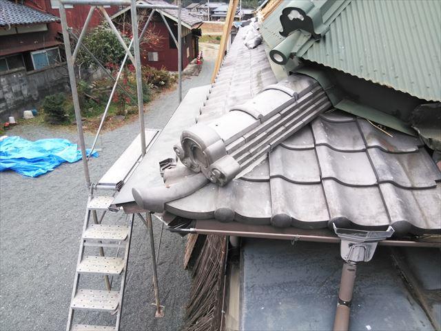神崎郡神河町の脱落した鬼瓦の復旧後