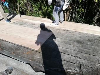 カバー工法 既存の屋根材に野地板の貼りつけ作業中