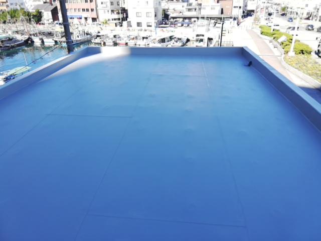 明石市のシート防水の施工完了