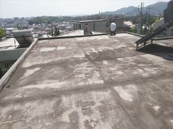 姫路市の陸屋根の防水の現地調査