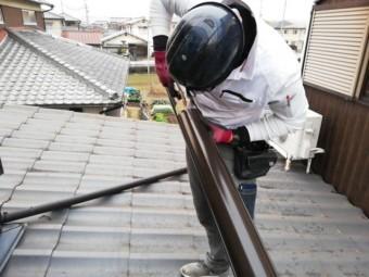 姫路市の劣化した雨樋の交換工事