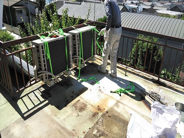 姫路市の塩ビシート防水の施工の準備