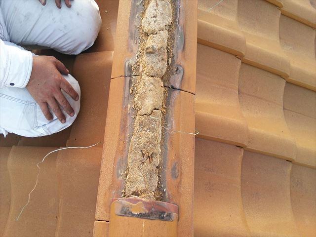 加古川市の瓦屋根の軒部分の確認