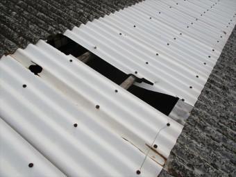 加西市のスレート屋根の倉庫の調査