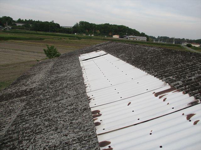加西市のスレート屋根のポリカ修理