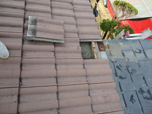 加西市の複合屋根の取り合い部分