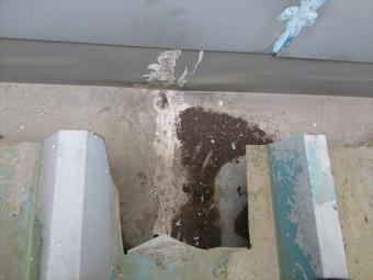 姫路市店舗折板屋根の補修跡