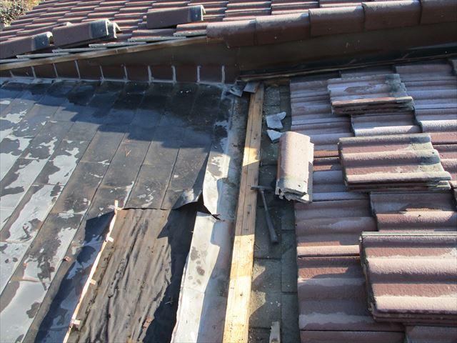 加西市の既存の銅板の撤去作業