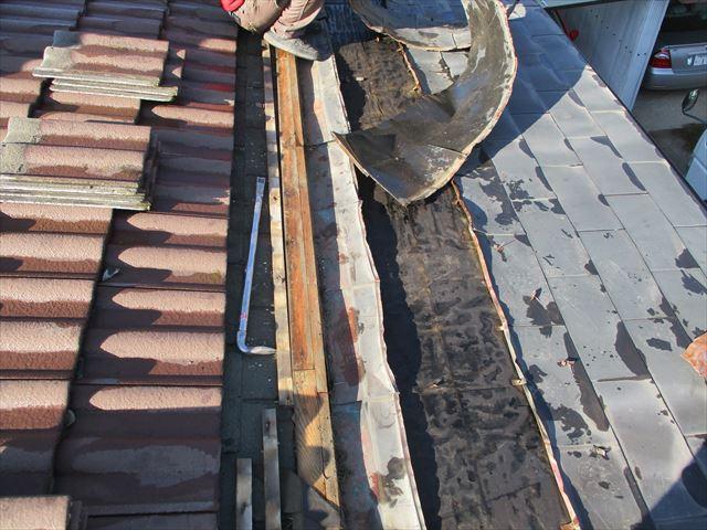 加西市の銅板一文字葺き撤去