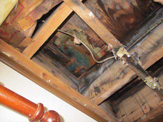 雨漏りで腐食した屋根裏