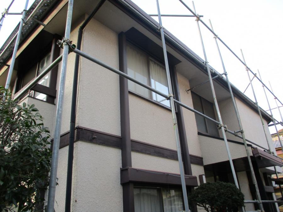 姫路市のカラーベストから金属屋根葺き替え工事の足場