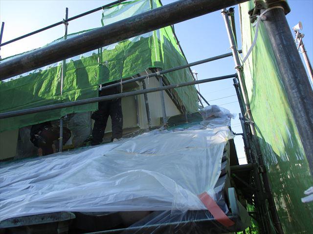 姫路市飾磨区の外壁塗装2階部分
