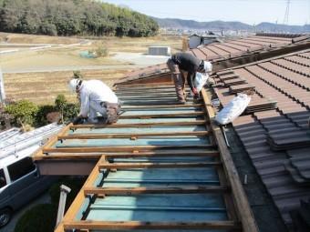 加西市の垂木の傷んだ部分の補強と補修