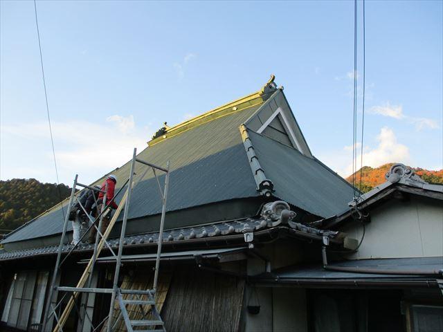 神河町の台風被害復旧工事の足場撤去