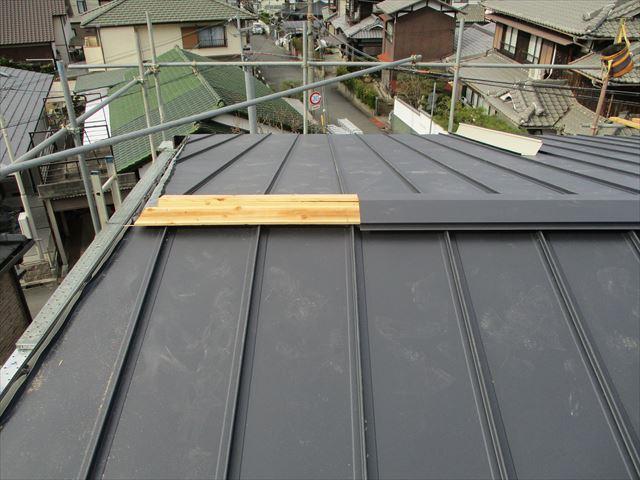 姫路市の葺き替え工事の棟板金