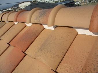姫路市の棟の漆喰調査
