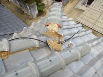 姫路市飾東町の隅棟破損