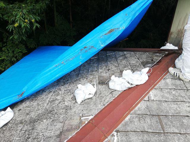 宍粟市のカバー工法の現場の錆びた板金と応急処置のブルーシート