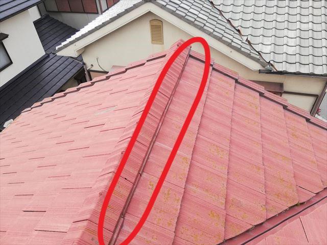 たつの市の雨漏り点検の台風でズレた棟部分