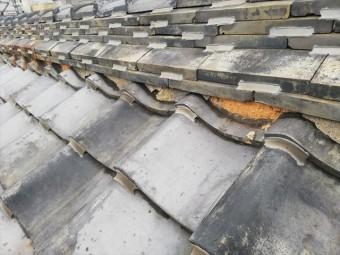 相生市の雨漏り調査の瓦屋根の漆喰