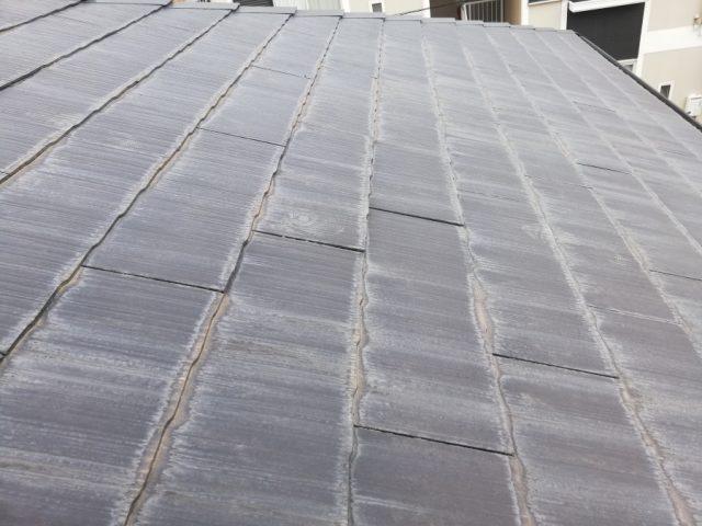 スレート屋根の下端の変色