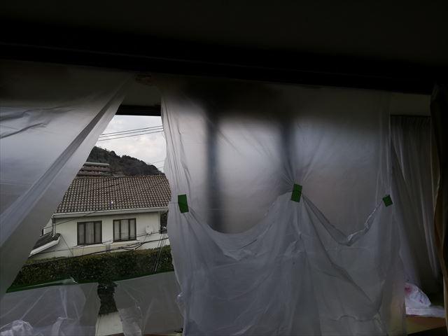 姫路市の雨漏り無料点検の養生作業