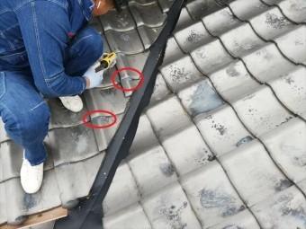 加古川市の谷板金交換後の瓦のラバーロック施工の写真