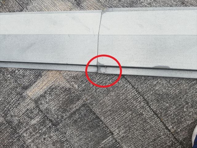 神戸市の屋根無料点検の棟の釘浮き