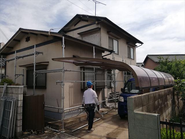 姫路市の塗装工事の仮設足場着工
