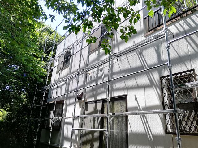 三木市の外壁塗装の足場の施工完了