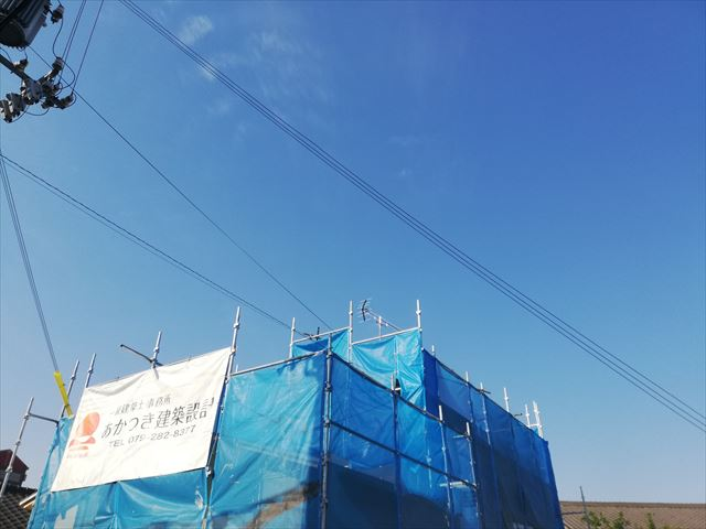 姫路市の塗装工事の足場の養生シート