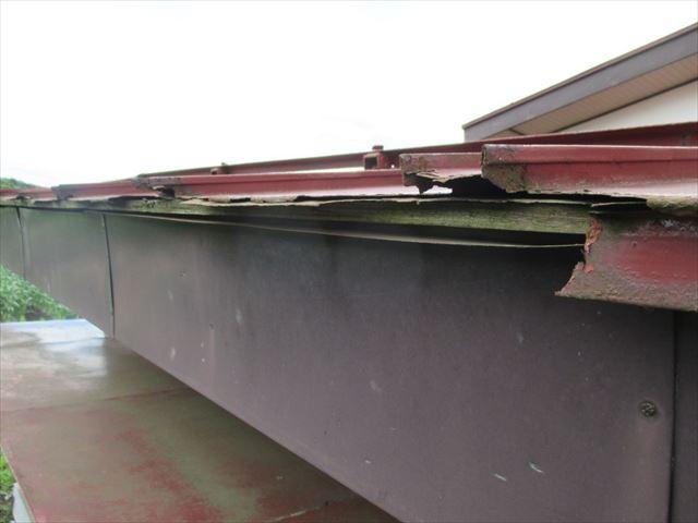 縦葺きの金属屋根 軒先の劣化